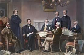 painting of President Lincoln and his Cabinet at the first reading of the Emancipation Proclamation