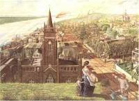painting of the view of Vicksburg during the siege