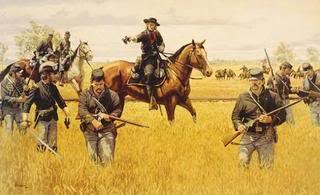 painting depicting General George Armstrong Custer at the Battle of Hanover, part of the Gettysburg Campaign