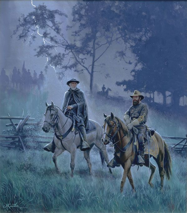 Mort Kunstler painting of Generals Robert E. Lee and James Longstreet after the Battle of Gettysburg