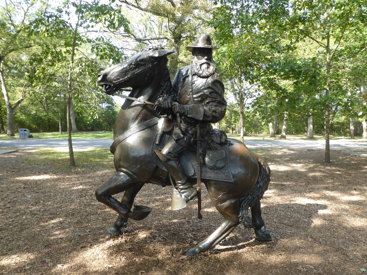 bronze equestrian statue of Confederate General James Longstreet at Pitzer Woods near Gettysburg, Pennsylvania