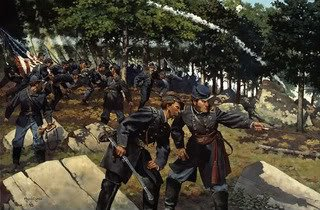 Colonel Strong Vincent saves Little Round Top from enemy capture
