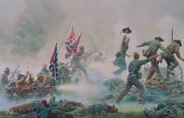 Mort Kunstler painting depicting General Armistead leading his men in Pickett's Charge