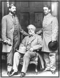 photograph of the general of the Army of Northern Virginia, his son and his adjutant Walter Herron Taylor