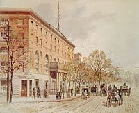 painting of the hotel where Lucy Lambert Hale lived during the Civil War, and John Wilkes Booth sometimes stayed there as well