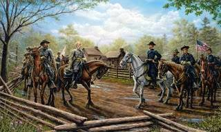 painting of the first meeting between Generals Sherman and Johnston