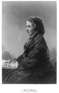 1872 engraving of American novelist Harriet Beecher Stowe from an oil painting by American artist Alonzo Chappel