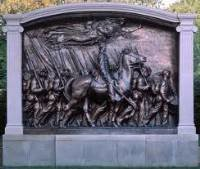 bronze monument on Boston Common dedicated to the officers and African American soldiers of the 54th Massachusetts Regiment
