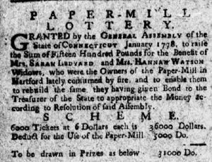 Detail from an announcement of the Paper-Mill Lottery in The Connecticut Courant, February 10, 1778.