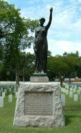 monument of a bronze female figure, dedicated to Civil War soldiers