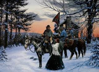 painting depicting General A.P. Hill saying goodbye to his wife Kitty Morgan Hilll