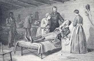 drawing of a Confederate base hospital, where Nursing in the Civil War South took place