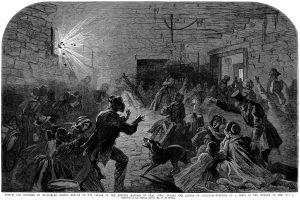 Sharpsburg residents taking shelter in the Kretzer cellar during the Battle of Antietam