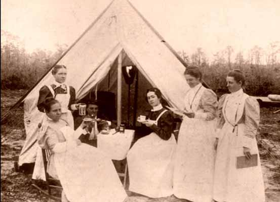 A group of nurses at a field hospital