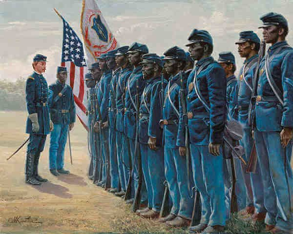 Col. Robert Shaw and the 54th Massachusetts by Mort Kunstler