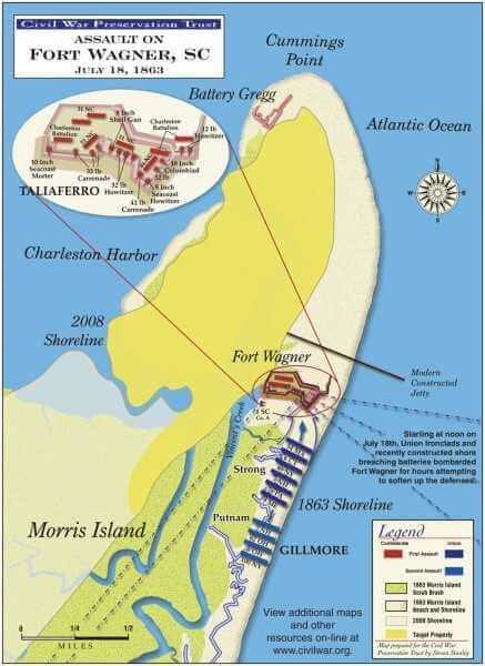 Map of Charleston Defenses At dusk July 18, 1863, General Quincy Adams Gillmore launched an attack on Fort Wagner spearheaded by the 54th Massachusetts Infantry, a black regiment. Members of the brigade scaled the parapet but were driven back with heavy casualties.