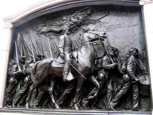Monument by American sculptor Augustus Saint-Gaudens In honor of Colonel Robert Gould Shaw and the 54th Massachusetts