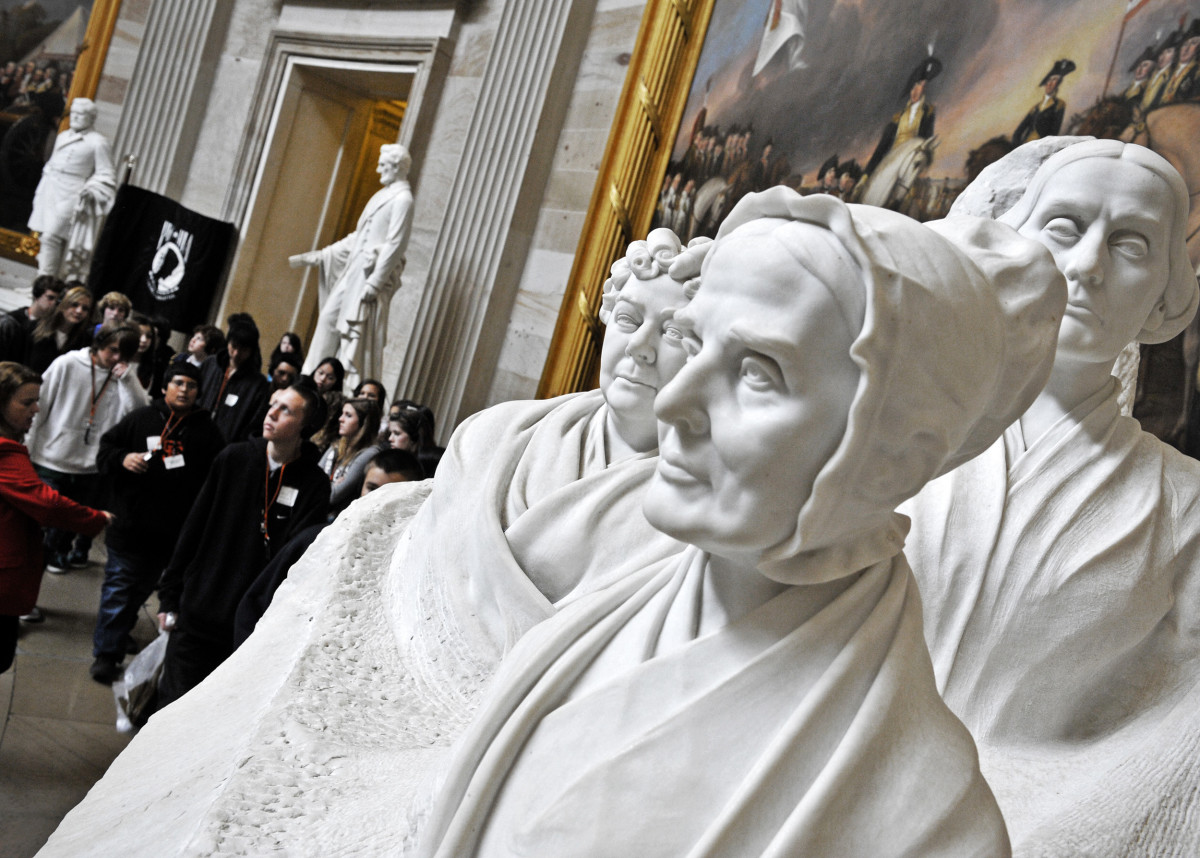 marble busts of the pioneers of the women's rights movement in the 19th century