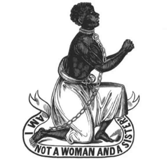 Image of a slave woman begging for freedom