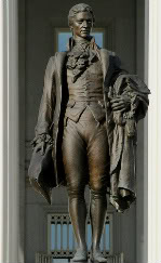 bronze statue of Founding Father Alexander Hamilton at the White House in Washington, DC