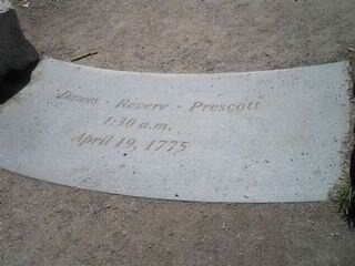 monument at the spot where Revere was captured, but Dawes and Dr. Samuel Prescott escaped