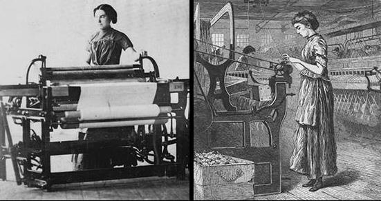 girls working in the Lowell Mills