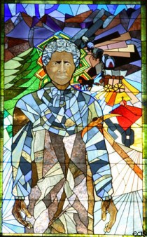 stain glass portrait of Colorado pioneer