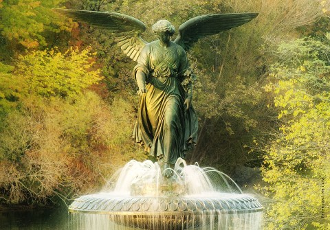 bronze angel in Central Park by Emma Stebbins