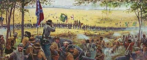 painting of the battle at the Wheatfield